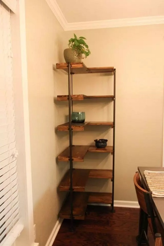 Corner Shelves With Industrial Piping
