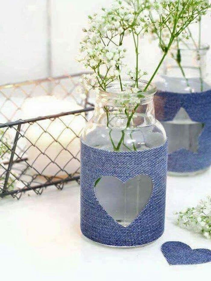 Easy tealight candle holders using denim scraps and glass jars
