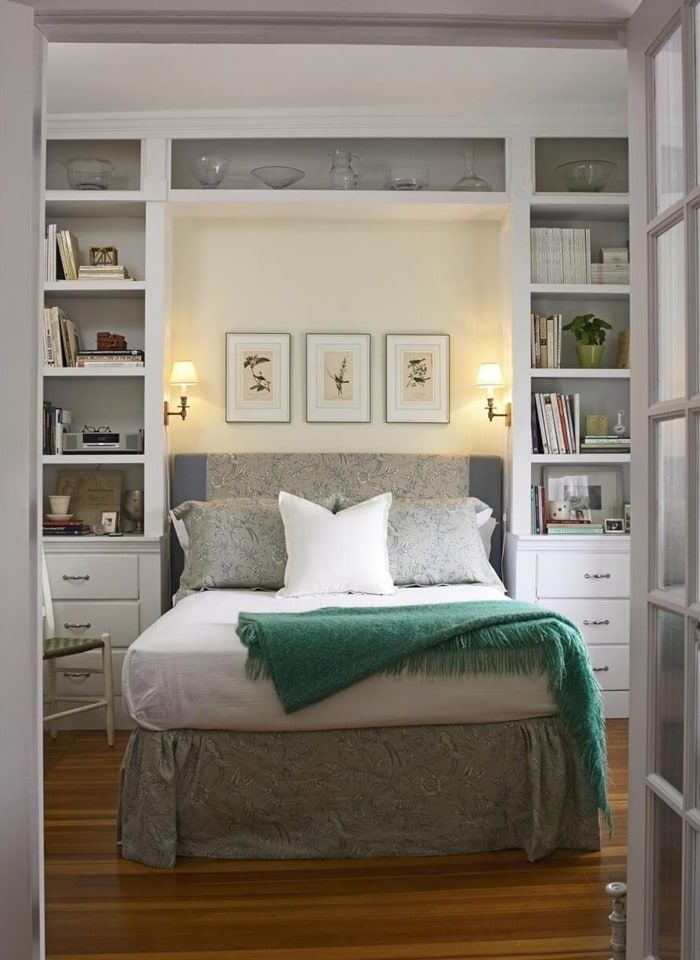 In A Small Bedroom Try Built In Shelving Around Bed