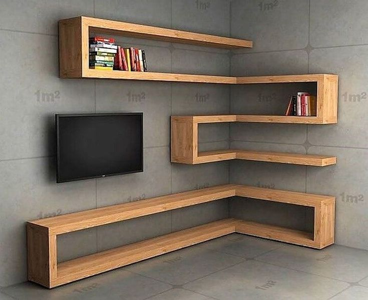 Zigzag Corner Shelving For A TV Display